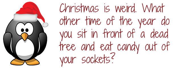 Christmas is weird.  What other time of year do you sit in front of a dead tree and eat candy out of your socks?